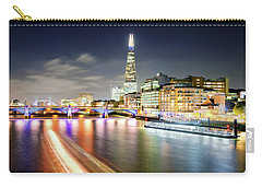 London At Night With Urban Architecture, Amazing Skyscraper And Boat At Thames River, United Kingdom Carry-all Pouch