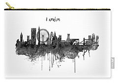 London Black And White Skyline Watercolor Carry-all Pouch by Marian Voicu