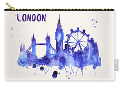 London Skyline Watercolor Poster - Cityscape Painting Artwork Carry-all Pouch