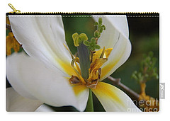 Carry-all Pouch featuring the photograph London White Tulip by Jolanta Anna Karolska