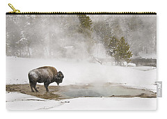 Carry-all Pouch featuring the photograph Bison Keeping Warm by Gary Lengyel