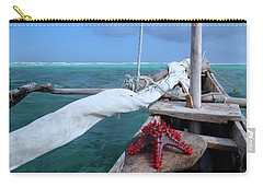 Lone Red Starfish On A Wooden Dhow 1 Carry-all Pouch