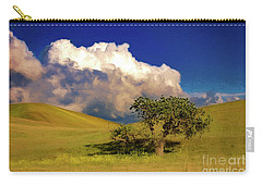 Carry-all Pouch featuring the photograph Lone Tree With Storm Clouds by John A Rodriguez