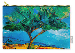 Carry-all Pouch featuring the painting Lonely Olive Tree by Elise Palmigiani