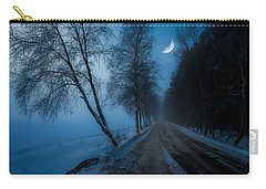 Carry-all Pouch featuring the photograph Lonely Road Where The Moon Is Your Friend by Rose-Maries Pictures