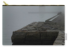 Carry-all Pouch featuring the photograph Lonely Salem Lighthouse In Fog by Jeff Folger