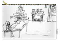 Carry-all Pouch featuring the drawing Lonely Santa by Artists With Autism Inc