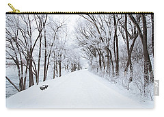 Lonely Snowy Road Carry-all Pouch by  Newwwman