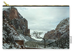 Carry-all Pouch featuring the photograph Lonesome Snowy Winter In Zion by Gaelyn Olmsted