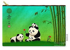 Longevity Panda Family Asian Art Carry-all Pouch