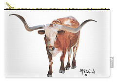 Longhorn 17 Big Daddy Watercolor Painting By Kmcelwaine Carry-all Pouch