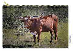 Carry-all Pouch featuring the photograph Longhorn #95 - Color by Tim Stanley