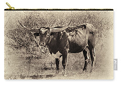 Carry-all Pouch featuring the photograph Longhorn #95 - Sepia #2 by Tim Stanley