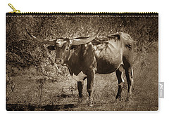 Carry-all Pouch featuring the photograph Longhorn #95 - Sepia by Tim Stanley