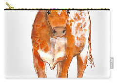 Texas Red Longhorn Watercolor Painting By Kmcelwaine Carry-all Pouch