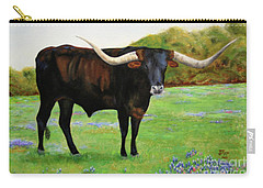 Carry-all Pouch featuring the painting Longhorn In Bluebonnets by Jimmie Bartlett