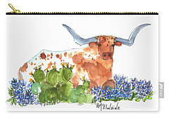 Longhorn In The Cactus And Bluebonnets Lh014 Kathleen Mcelwaine Carry-all Pouch