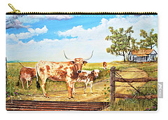 Longhorn Stand Off Your Place Or Mine Carry-all Pouch