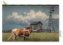 Longhorn Steer In A Prairie Pasture By Windmill And Old Gray Wooden Barn Carry-all Pouch
