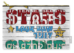 Look At The Stars Coldplay Yellow Inspired Typography Made Using Vintage Recycled License Plates V2 Carry-all Pouch by Design Turnpike