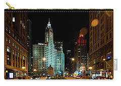 Looking North On Michigan Avenue At Wrigley Building Carry-all Pouch