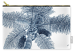 Carry-all Pouch featuring the photograph Looking Up At Palm Tree Blue by Ben and Raisa Gertsberg
