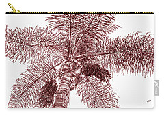 Carry-all Pouch featuring the photograph Looking Up At Palm Tree Red by Ben and Raisa Gertsberg