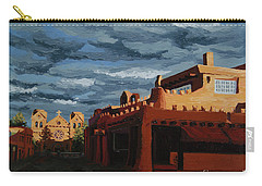 Carry-all Pouch featuring the painting Los Farolitos,the Lanterns, Santa Fe, Nm by Erin Fickert-Rowland