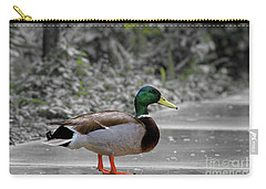 Carry-all Pouch featuring the photograph Lost Duck by Mariola Bitner