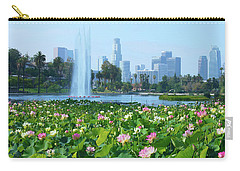 Lotus Blooms And Los Angeles Skyline Carry-all Pouch