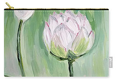 Carry-all Pouch featuring the painting Lotus Emerging by Maria Langgle
