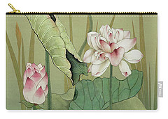 Lotus Flower And Hummingbird Carry-all Pouch