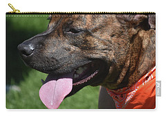 Lovable Pitbull Tired From Plating With Friends Carry-all Pouch