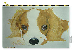 Carry-all Pouch featuring the painting Lovable Puppy by Norm Starks
