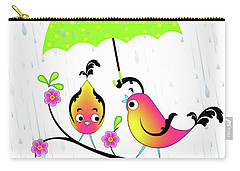 Love Birds In Rain Carry-all Pouch