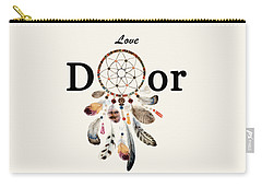 Carry-all Pouch featuring the painting Love Dior Watercolour Dreamcatcher by Georgeta Blanaru