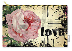 Love Grunge Rose Carry-all Pouch by Robert G Kernodle