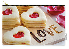 Carry-all Pouch featuring the photograph Love Heart Cookies by Teri Virbickis