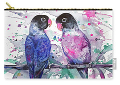 Carry-all Pouch featuring the painting Love Is In The Air. Lovebirds by Zaira Dzhaubaeva