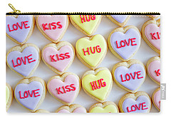 Carry-all Pouch featuring the photograph Love Kiss Hug Heart Cookies by Teri Virbickis