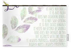 Carry-all Pouch featuring the photograph Love Never Fails by Andrea Anderegg