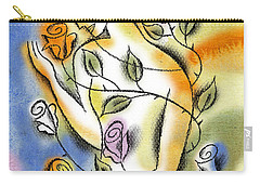 Carry-all Pouch featuring the painting Love, Roses And Thorns by Leon Zernitsky