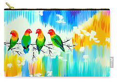 Lovebirds On A Branch Carry-all Pouch by Cathy Jacobs