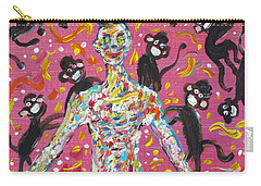 Carry-all Pouch featuring the painting Loved By The Monkeys by Fabrizio Cassetta