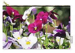 Carry-all Pouch featuring the photograph Lovely Pansies  by Gabriella Weninger - David