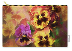 Lovely Spring Pansies Carry-all Pouch by Diane Schuster