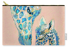Carry-all Pouch featuring the digital art Loving Giraffes Family- Coral by Jane Schnetlage