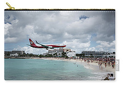 Low Landing At Sonesta Maho Beach Carry-all Pouch by Nick Mares