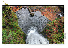 Carry-all Pouch featuring the photograph Lower Multnomah Falls From Benson Bridge - Columbia Gorge by Gary Whitton
