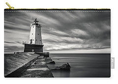 Carry-all Pouch featuring the photograph Ludington Light Black And White by Adam Romanowicz
